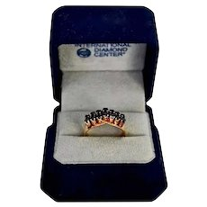 Rose Gold Victorian 18K Gold Fancy Sapphire Betrothal Ring