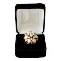 Estate 18K Gold Opal Ring Princess Fiery Harem Custom  Size 6.75