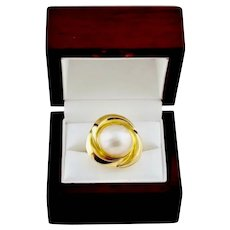 Ladies Elegant 14K Gold Mabe Ring Cultured Pearl Evening / Cocktail