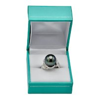 Fancy Platinum Black Gray Green Cultured Pearl Diamond Cocktail Ring