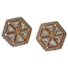 Designer Valentino Gold Plated Hexagon Shaped Swarovski Crystal Earrings