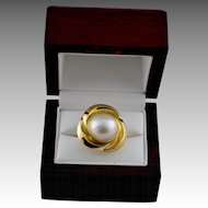 Elegant Estate 14K Gold Mabe Cultured Pearl Ring