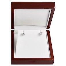 White Stone Quartz Gemstone 14K Gold / Silver 1 Carat Studs