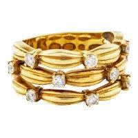 Tiffany 18K Gold 0.50 ctw Diamond Anniversary Band Ribbon Repousse Size 6