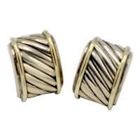 David Yurman Earrings Cigar Style Sterling / 14K Gold Cable Earrings Vintage