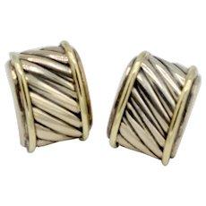 David Yurman Earrings Cigar Style Sterling / 14K Gold Cable Earrings Vintage
