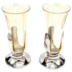 1930's Tiffany & Co Handblown Amber Glass & Silverplate Trumpet Vases - Pair