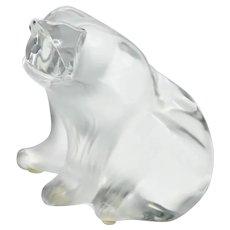 Lalique, France Large Crystal Polar Bear Figurine Sculpture Signed