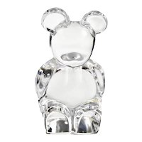 Orrefors Swedish Lead Crystal Chunky Poo Bear Signed