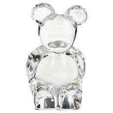 Orrefors Swedish Rock Crystal Chunky Poo Bear Signed