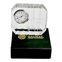 Vintage Decorative GALWAY Irish Lead Crystal Desk / Vanity Clock