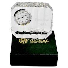 Vintage Decorative GALWAY Irish Lead Crystal Desk / Vanity Clock