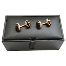 Estate 14K Rose Gold Men's Garnet Gemstone Double Sided Cuff Links 1950's