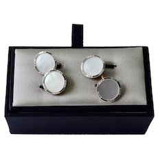 1920 Art Deco 14K Rose Gold Enamel Mother of Pearl Larter Sons Cufflinks