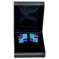 Modernist Taxco Mexico Sterling Silver Turquoise,  Lapis Lazuli Cufflinks
