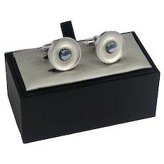 Mid Century Unisex Style Anson Silver Hematite Cufflinks
