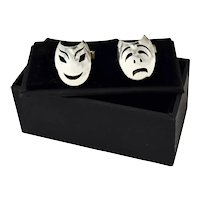 Vintage Mexico Sterling Silver Eagle 3 Comedy Tragedy Mask Cufflinks
