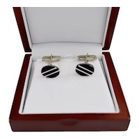 Taxco Mexico Black Onyx Sterling Silver Inlay Oval Cufflink
