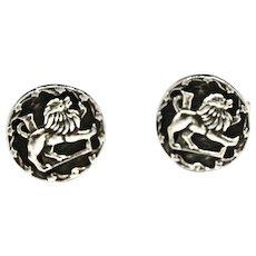 Embossed Heraldic Lion Sterling Silver Oxidized Cufflinks