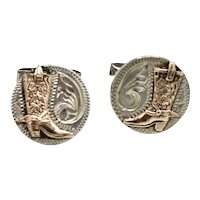 Western Style Sterling / Copper Tool Etched Cufflinks Mexico