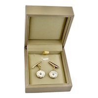 Elegant Art Deco English Gilt Bronze Mother of Pearl Cufflinks