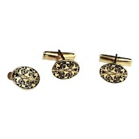 Mid Century Harvey Avedon Plique-à-jour Enamel Gold Cufflinks / Tie Bar