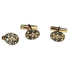 Mid Century Harvey Avedon Plique-à-jour Enamel Gold Cufflinks / Tie Bar