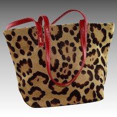 Small Valentino Leopard Print Calf Skin Evening Tote