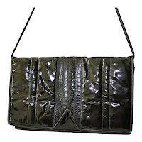 Glazed Leather Designer Clutch Handbag Snakeskin Foldover Envelope