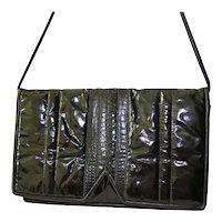 Glazed Leather Designer Clutch Handbag Snakeskin Foldover Envelope
