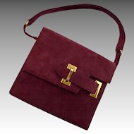 Vintage Burgundy SAKS Fifth Avenue Kelly Suede Handbag