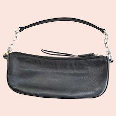 Ann Taylor Soft Black Leather Clutch Chain Strap Handbag