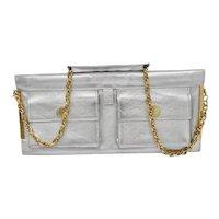 Christian LaCroix Paris  90's Silver Italian Leather Shoulder Clutch Handbag