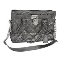 Designer MK Metallic Quilted Hamilton Logo Shoulder Bag / Tote