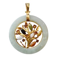 Large 14K Gold Jade Tree of Life Necklace Pendant Multicolor 31 grams