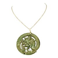 Chinese Carved Old Nephrite Jade Dragon Amulet Medallion Pendant