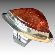 Cognac Amber Trapezoid Modernist Ring