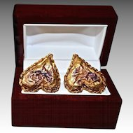 Christian Lacroix 18K Gold Plate Old World Baroque Earrings
