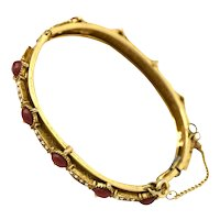 Ornamental Victorian 10K Rolled Gold Bas-Relief Glass Bead Bracelet