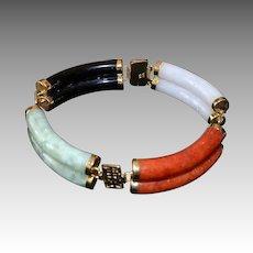 Chinese 14kt Gold Jadeite Double Bar Line Bracelet