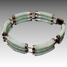 Asian 14k Gold Triple Jadeite Celadon Bar Link Bracelet