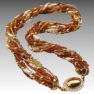 Vintage Murano Amber Crystal Multi-Strand Torsade Necklace