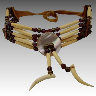 Southwestern Natural Ox Bone Suede Tie Choker / Collar Necklace