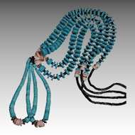 Southwestern Kingman Turquoise & Heishi Double Jacias Necklace