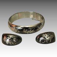 Elegant Asian Sterling Silver Niello Bangle Bracelet & Earrings