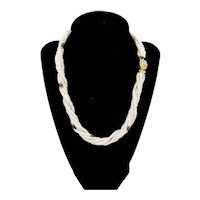 Mid-Century Classic Freshwater Seed Pearls Garnet Torsade Necklace Gold Plate Clasp