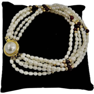 10K Gold Plate Multi-Stand Biwa Pearls Garnet Torsade Style Bracelet