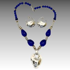 Robert Lee Morris Sterling Silver Rock Crystal Pendant Necklace Earring Set