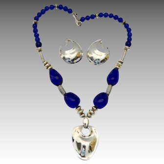 Robert Lee Morris Sterling Silver Rock Crystal Pendant Necklace Earring Set