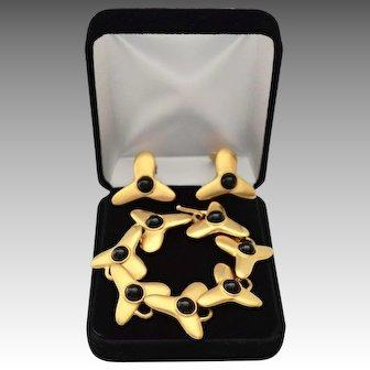 Modernist Robert Lee Morris 24K Gold Plate Onyx Bracelet & Earring Set